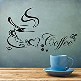 BININBOX Removable Wall Decal Kitchen Coffee Cup with English Word Double Sided Art Decor
