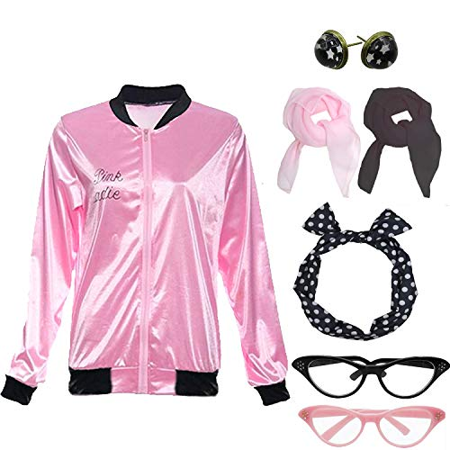 Womens Grease Pink Ladies Satin Jacket Costume with 50s Accessories Set (L, Pink and Rhinestone)]()