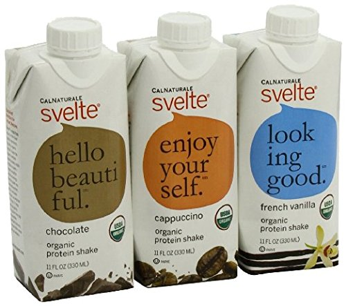 CalNaturale Svelte Organic Protein Shake, Variety Pack, 11 Ounce Aseptic Boxes (pack of 48) by Svelte