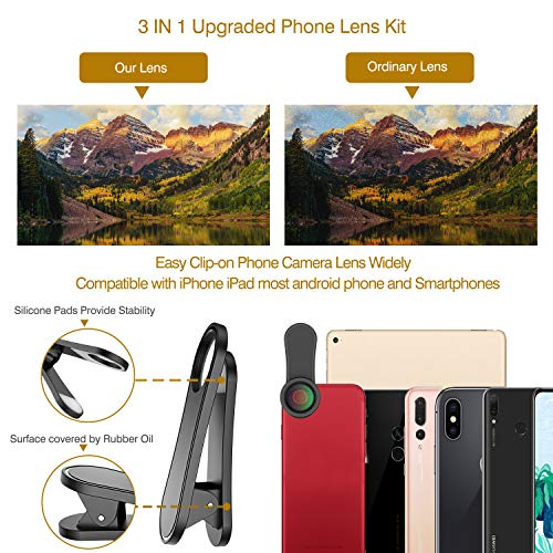 Phone Camera Lens,Upgraded 3 in 1 Phone Lens kit-198° Fisheye Lens + 20X Macro Lens + 120° Wide Angle Lens,Clip on Cell Phone Lens Kits Compatible with iPhone,iPad,Most Android Phones and Smartphones by LEKNES (Image #1)