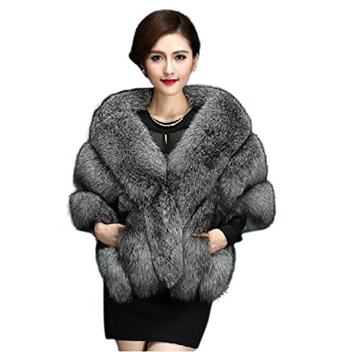 Faux Fur Wrap Cape Shawl for Women's Wedding Dresses and Ladies Party (Grey) One Size