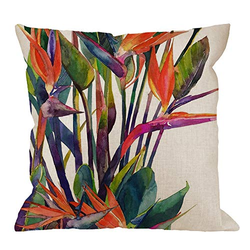 - HGOD DESIGNS Leaves Throw Pillow Cushion Cover,European American Rural Village Birds of Paradise Cotton Linen Throw Pillow Case Personalized Cover New Home Office Decorative Square 18 X 18 Inches
