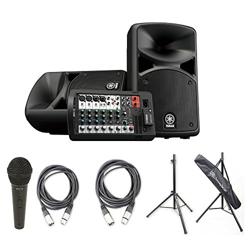 Yamaha STAGEPAS 400BT Portable PA System w/AxcessAbles Speaker Stands, Audio Cables and Microphone (Yamaha Stagepas 400i Stand)