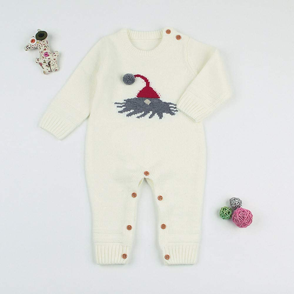 Christmas Baby Romper,Fineser Cute Infant Baby Girl Boy Long Sleeve Cartoon 3D Ball Christmas Knitted Romper Clothes