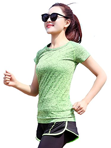 Zhaoyun Summer Quick drying Outdoors Sports Yoga Fitness wear breathable perspira T-Shirt-Green-L
