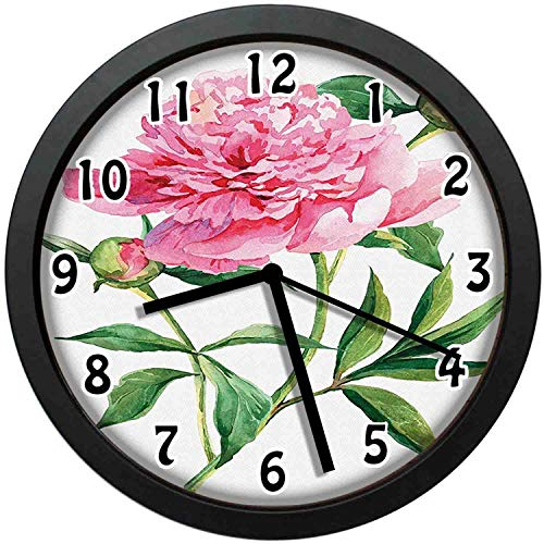 (kuangmaikuangmai-6 Vintage Wall Clock - Vintage Peony Painting Botanical Spring Garden Flower Nature Unique Decorative Wall Clock Nice for Gift or Office Home 10in with Frame)