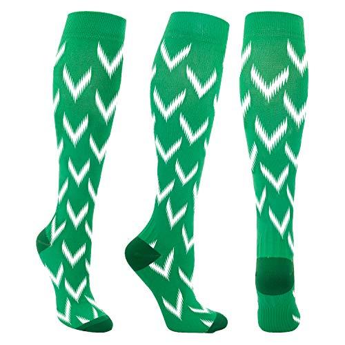 Compression Socks for Men & Women 20-30 mmHg Medical Graduated Compression Stockings for Sports Running Nurses Shin Splints Diabetic Flight Travel Pregnancy (Green, L/XL)