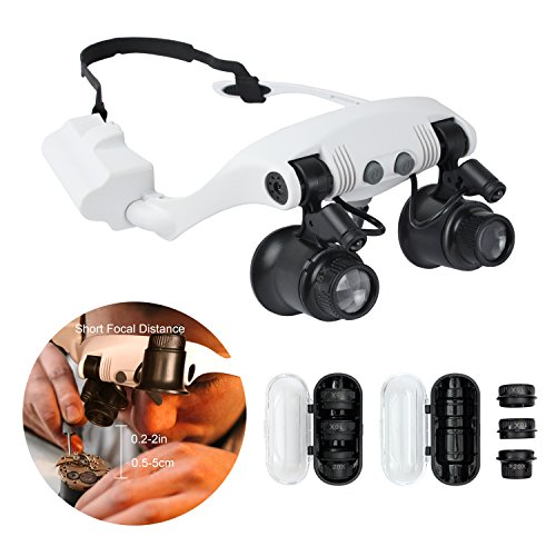 10X Lighted Magnifying Glass Headset Led Headband Loupe