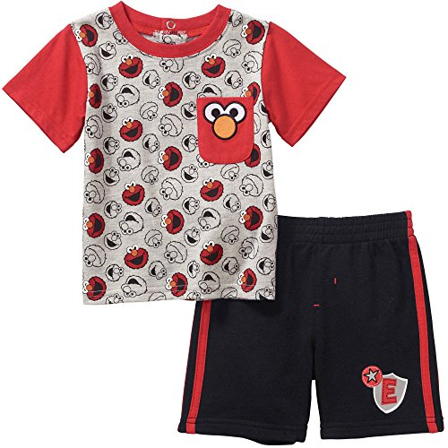 Sesame Street Elmo Baby Boys' Short Sleeve T-Shirt and Shorts Outfit 18 Months