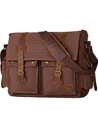 17.3 Inch Men's Messenger Bag Canvas Leather Satchel Laptop Bags