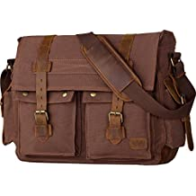 c3babd8465f3 Wowbox 17.3 Inch Men s Messenger Bag Vintage Canvas Leather Satchel bag  Military Shoulder Laptop Bags Bookbag Working Bag