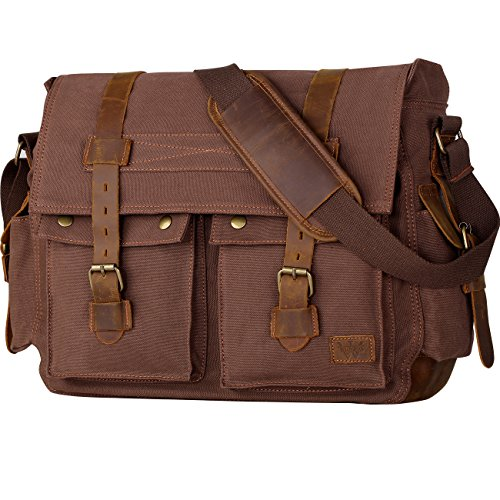 Wowbox 17 Inch Men's Messenger Bag Vintage Canvas Leather Satchel bag Military Shoulder Laptop Bags Bookbag Working Bag for Men and Women(Coffee) (Satchel Bag)