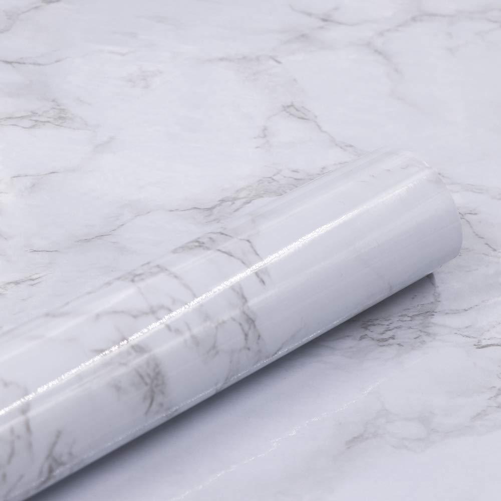 Marble Self Adhesive Paper 24'' X 79'' Granite Look Effect Contact Paper Decorative Self-Adhesive Film Marble Gloss Vinyl Film Contact Paper by Abyssaly
