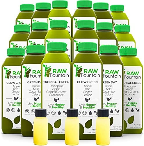 Raw Fountain 3 Day Green Juice Cleanse, All Natural Raw, Vegan Detox, Cold Pressed Juice, 18 Bottles 16oz, 3 Ginger Shots 1