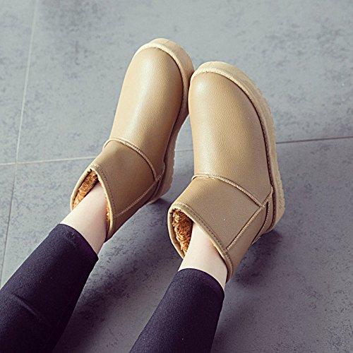 Botas Fondo Caliente Botas de Acolchados la Plano para XIE de Zapatos de Espesor bajo Redondo Nieve y Invierno cl Cilindros OInTCqU