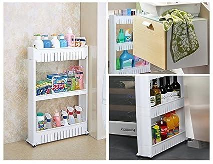 ShopAIS Vertical 3 Layer Plastic Space Saving Storage Organizer Rack Shelf  With Wheels Standard Size White