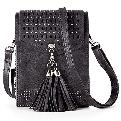 (seOSTO Women Small Crossbody Bag, Tassel Cell Phone Purse Wallet)