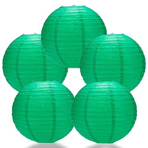 Quasimoon PaperLanternStore.com (5-Pack) 12 Inch Arcadia Teal Green Round Paper Lantern, Even Ribbing, Hanging Decoration