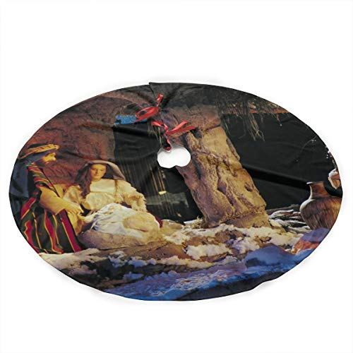 HaSaKa Grand Nativity Scene Noel Xmas 36 Inch Under Christmas Artificial Tree Skirt Carpet Wood Floor Mat Rugs Protective Cover Themed Round Pad Classic Big Large Xmas Decorations ()