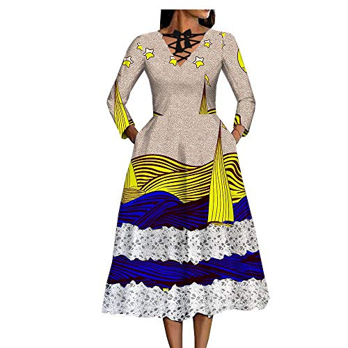 Private Customized African Dresses for Women Wax Fabric lace Girls Ankara Wedding Cocktail Party Prom 273 L ()