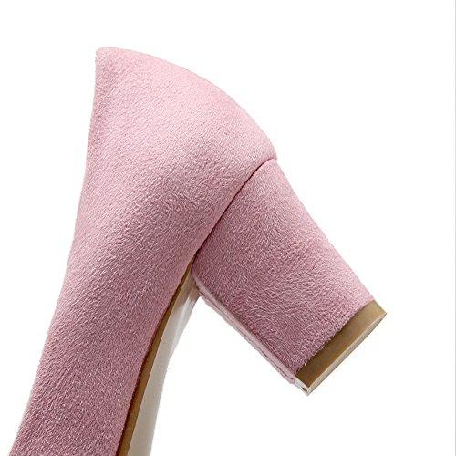 Sur Solide Talon Un Ont Fait Pompes Fermé Les Petit Femmes Rose À Voguezone009 Bout Chaussures De Traction BfPSz4