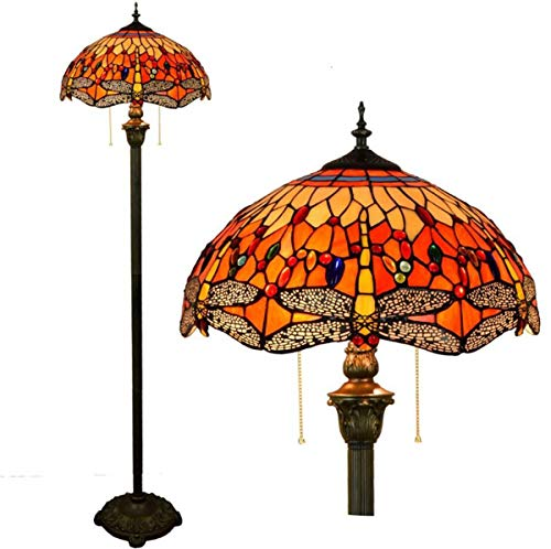 GDLight Tiffany Style Floor Standing Lamp Vintage Stained Glass Red Dragonfly 2 Light Floor Lamp with Pull Chain for Bedroom Living Room Reading, 63 Inch Tall