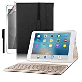 iPad Pro 9.7 Keyboard Case, BoriYuan PU Leather Tri-fold Folio Stand Smart Cover with Aluminum Detachable Backlit Wireless Bluetooth Keyboard For Apple iPad Pro 9.7inch+Screen Protector+Stylus, Black