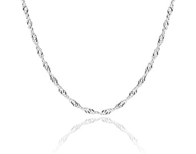Singapore Twisted Curb Chain Necklace 9ct White Gold Plated Sterling Silver 925 26g 18 inch 45cm CZEK036KCT
