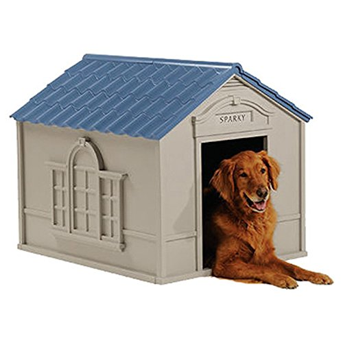 Deluxe Dog House Furniture Ventilated, Sturdy Plastic, Taupe & -