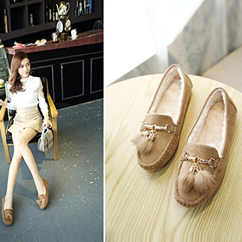 Tantisy ♣↭♣ Girls Soft Cotton Warm Shoes Baby Cute Bow Pea Boots Ladies Casual Tassel Flats Shoes Beige by Tantisy ♣↭♣ (Image #4)