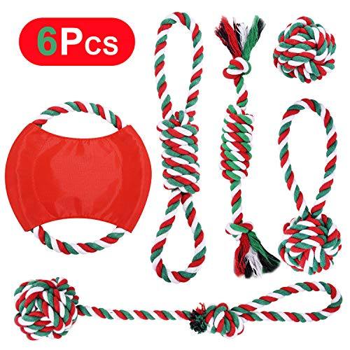 ROYBENS Christmas Dog Rope Toy, 6-Pack Christmas Stocking Toy Gift Set Cotton Rope Knot Chew Toy for Medium and Large Dogs Teething Cleaning and Training (Not Suitable for Giant Gogs) (Dog Christmas Gifts)