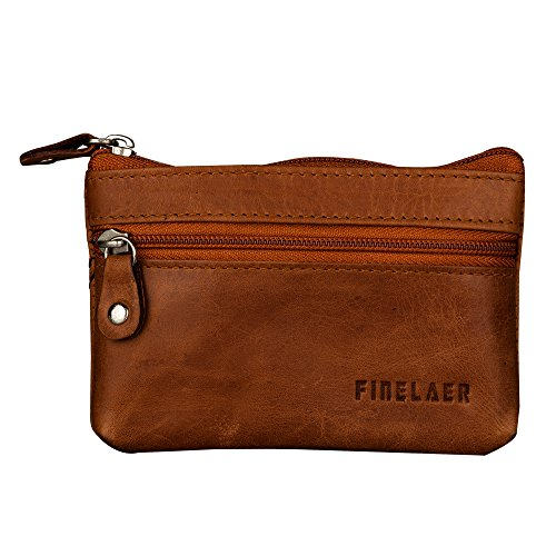 Finelaer Men Leather Coin Purse Pouch Wallet with Key Ring