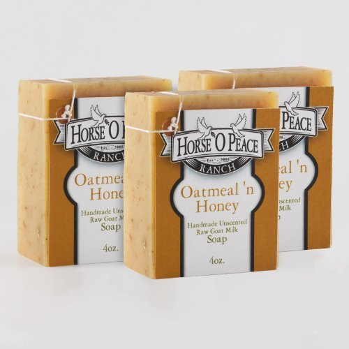 Handmade Herbal 100% Raw Goat Milk Oatmeal 'n Honey Soap (3 Pack)