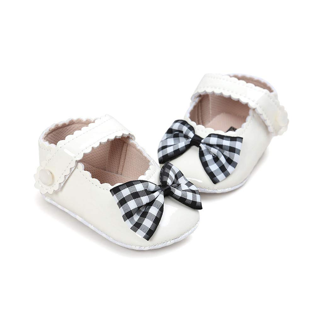 yuye-xthriv Fashion Infant Baby Girl Grid Bowknot Decor Anti-Slip Prewalker Toddler Shoes Red Plaid 13cm