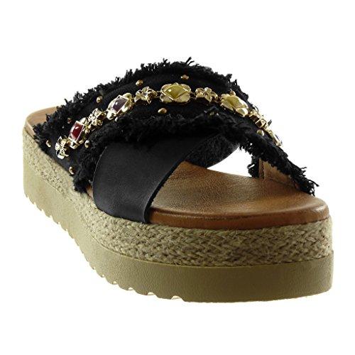 Plateforme Femme Bijoux 4 Effiloché Angkorly Mode Mule cm Talon Slip Sandale Corde on Chaussure 5 Plateforme Noir Compensé 0RqYw1f