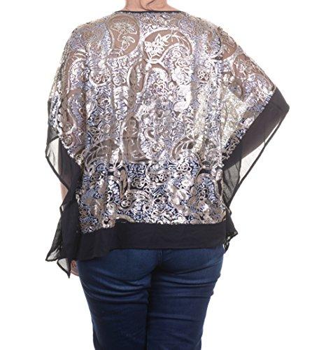 Ellen Tracy Top, Batwing-sleeve Sequin Pon Black Combo Size M