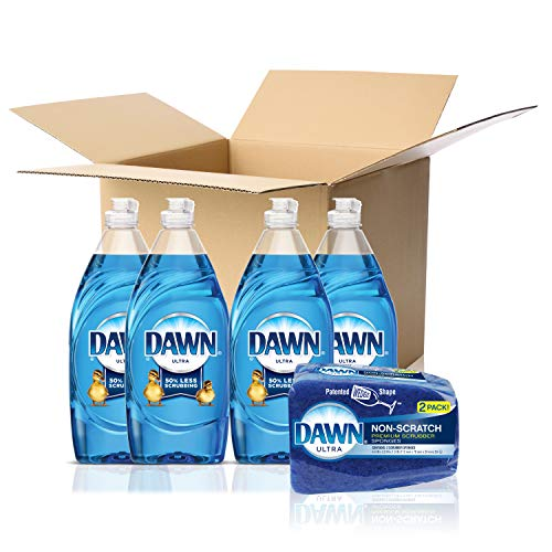 Dawn Ultra Dishwashing Liquid Dish Soap (4x19.4oz) + Dawn Non-Scratch Sponge (2ct), Original(Packaging May Vary)