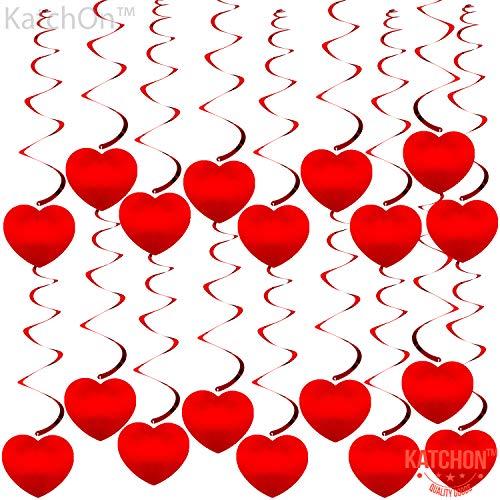 KatchOn Hanging Heart Swirls Decorations - Valentines Day Decorations | Valentines Day Hanging Decorations for Home | Valentine Ceiling Decoration for Classroom Wall