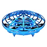 Vegan Mini UFO Shape Sensing Drone Induction ,Kids Gifts Creative Activity (Blue)