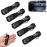 Mokao 5PC CREE Q5 AA/14500 3Mode ZOOM LED Super Bright Flashlight MINI Police Torch