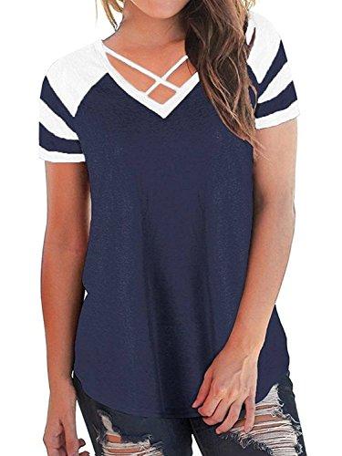 Sweetnight Women Criss Cross Front V Neck Ralgan Striped Shirts Short Sleeve Summer Tunic Tops (Navy Blue, M)
