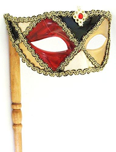 Harlequin Stick Mask Gold Eyes Mardi Gras Mask Venetian Halloween Costume ()