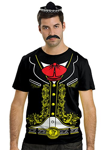 Mariachi Costume Man (Viva Mexico Mens Mariachi Costume Shirt Sombrero Hat & Mustache Bundle T-Shirt (4XL, Black))