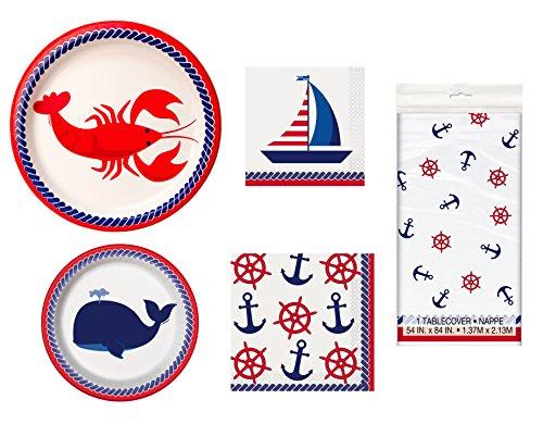 Unique Nautical Party Supplies Bundle | Paper Plates, Napkins Table Cover by Unique