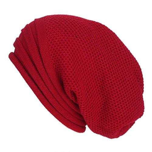 Smdoxi Trendy Crochet Winter Wool Knit Ski Slouchy Beanie (Wine Red) ()