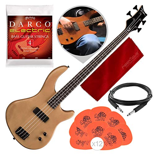 Dean E09M Edge 09 Mahogany Electric Bass Guitar, Satin Natural with Accessory Bundle