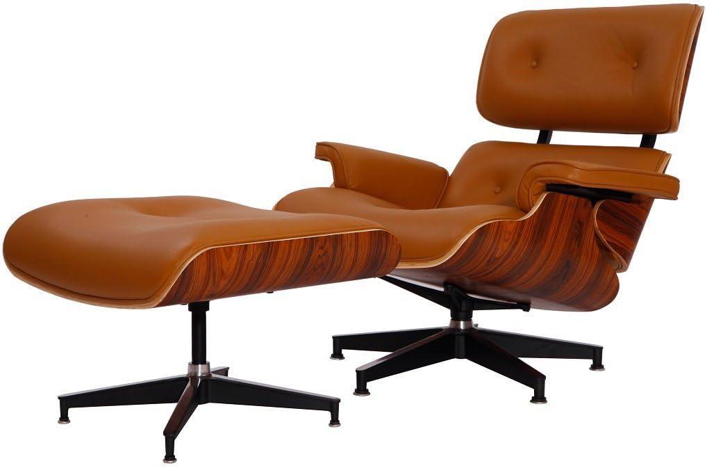 Plywood Lounge Chair & Ottoman Preminum Italian Leather (Light Brown Palisander)