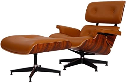 Eames Lounge Stoel Replica.Modern Sources Mid Century Plywood Lounge Chair Ottoman Eames Style Replica Real Premium Aniline Leather Light Brown Palisander