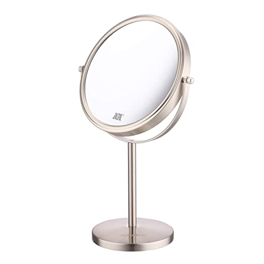 Vanity Makeup Mirror - 8'' Tabletop Mirror 10x Magnifying Two-Sided Swivel Cosmetic Mirror Nickel finished ALHAKIN