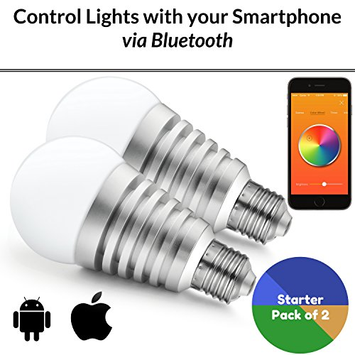Mansaa SmartShine – Bluetooth Wireless Smart LED Bulb – (9W, E27, Silver Body, Pack of 2)